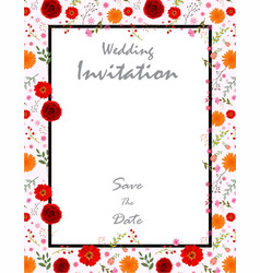 Beautiful wedding invitation card with flowers vector