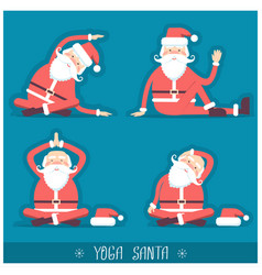Santa claus doing yoga isolated christmas card vector