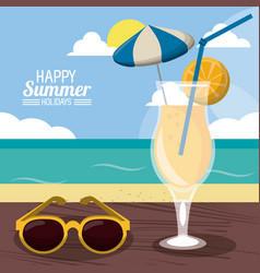happy summer holidays poster beach cocktail vector image