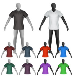 Plain polo shirt on mannequin torso template vector