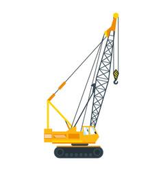 Construction machinery tall crane lifts slab vector