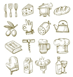 hand drawn kitchen vector image