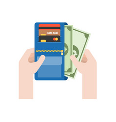 hand pick money from purse vector image