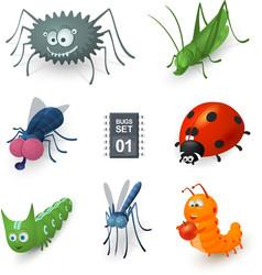 Cartoon bugs set vector
