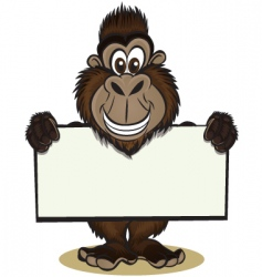 Cute gorilla holding sign vector