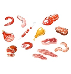 Cartooned meat and meat products vector