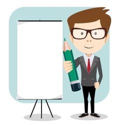 Businessman with a poster and pencil vector