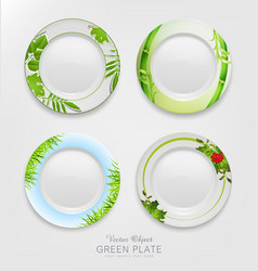 Set with green patterns on plates vector