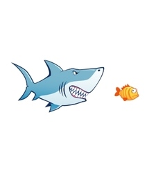 Shark attak tiny fish vector