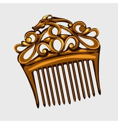 Vintage wooden comb for hair isolated vector