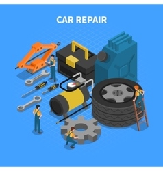 Car repair tools isometric concept vector