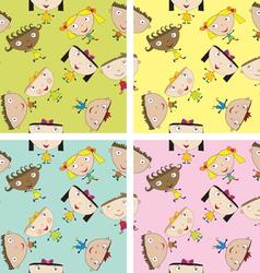 Set of children patterns vector image