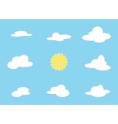set of cloud object and sun Collection vector image