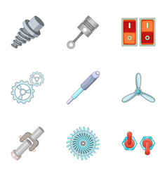 Car parts icons set cartoon style vector