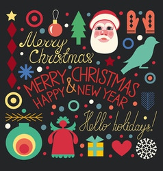 Christmas set of objects vector