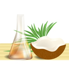 Coconut oil on table vector