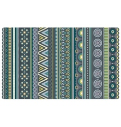Ethnic various strips motifs in green and olive vector