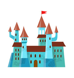 fairy medieval castle in cartoon style on white vector image