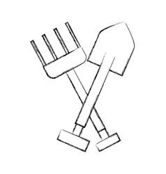 Farm rake with shovel vector