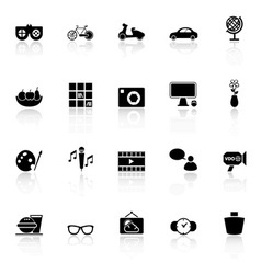 Favorite and like icons with reflect on white vector image vector image