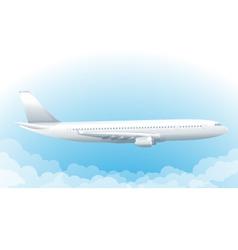 Flying airplane in sky vector