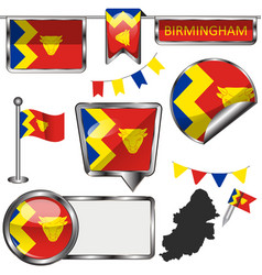 glossy icons with flag of birmingham vector image vector image