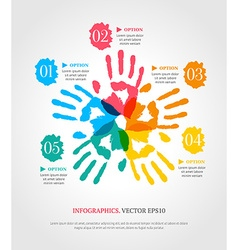 Hand prints with numbers infographic template vector