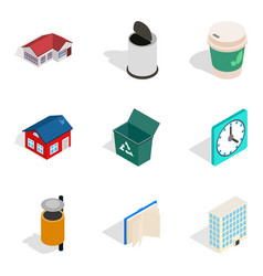 Homely atmosphere icons set isometric style vector