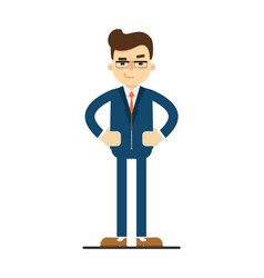 Interested businessman with hands on waist gesture vector