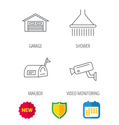 Mailbox video monitoring and garage icons vector