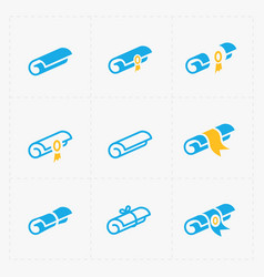 Modern flat scrolls icons with ribbon on white vector