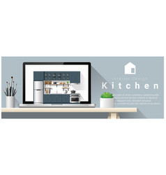 Modern kitchen interior design background vector