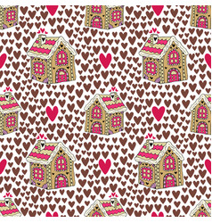 new year background with gingerbread house and vector image