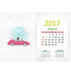 nice young woman in pink convertible with shopping vector image vector image