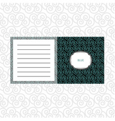 Notepad design with blue geometric pattern vector