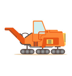 Orange gravel spreading graver machine part of vector