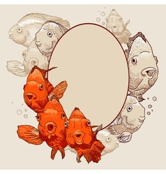 Ornamental frame with fish vector image vector image