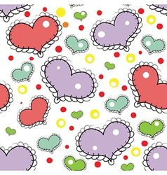 Seamless pattern with hand drawn hearts vector image vector image
