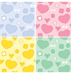 Set backgrounds whit hearts and patches vector