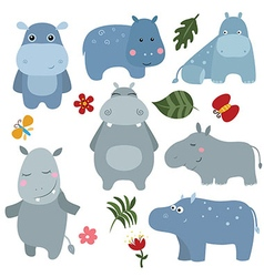 Set funny hippos vector image