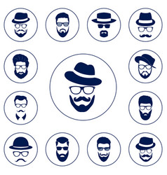 Set of different men hipster vector