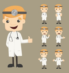 Set of doctor characters poses vector image vector image
