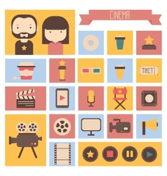 Set of movie design elements and cinema icons in vector image