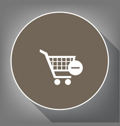 shopping cart with remove sign vector image vector image