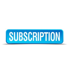Subscription blue 3d realistic square isolated vector