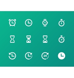 Time and Clock icons on green background vector image vector image
