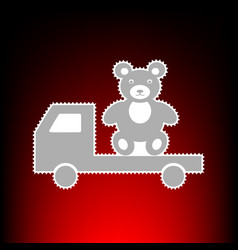 Truck with bear postage stamp or old photo style vector
