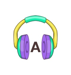 Language learning headphones icon cartoon style vector