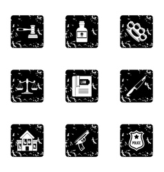 Crime icons set grunge style vector