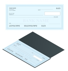 Bank check with modern design flat vector